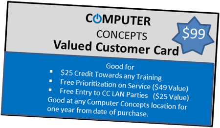 valued customer card